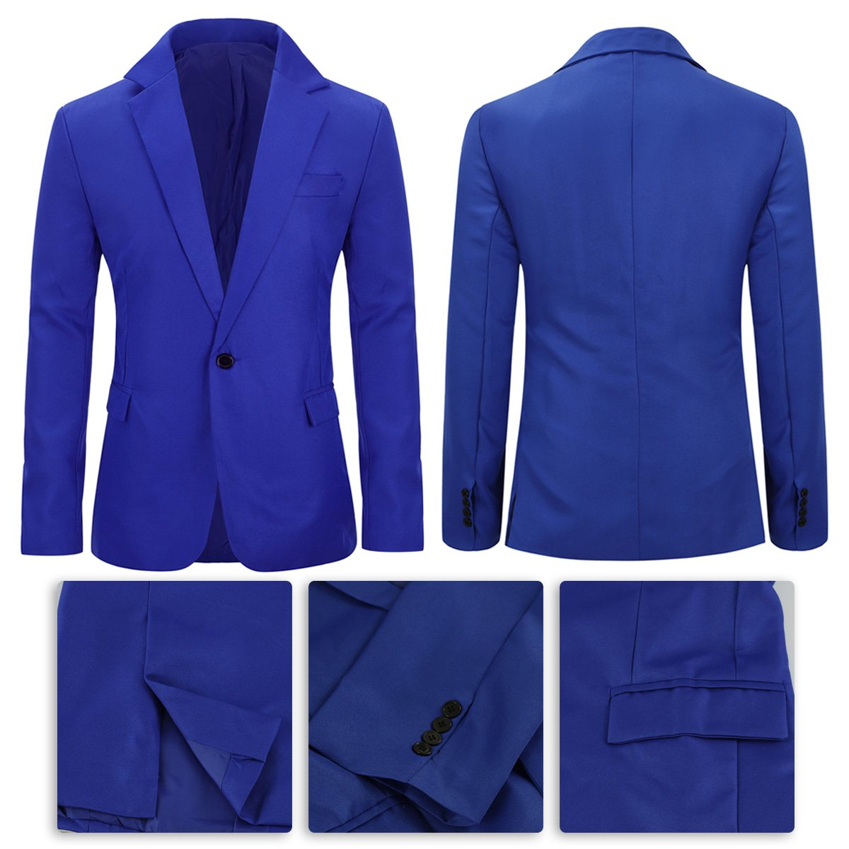 YUNCLOS Mens Slim Fit Casual One Button Notched Lapel Blazer Jacket LIXIN0050
