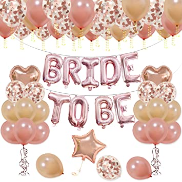 d96b1ac6ab76 KUMEED BRIDE TO BE Balloons Banner Rose Gold 16 quot - Champagne Rose Gold  Latex Balloons
