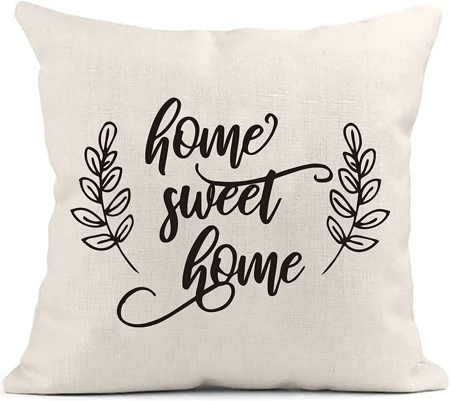 MayAvenue Home Sweet Home Cotton Linen Square Throw Pillow Case Decorative Cushion Cover Pillowcase Sofa for Friend Housewarming New Home Gift, 18 x 18 inche