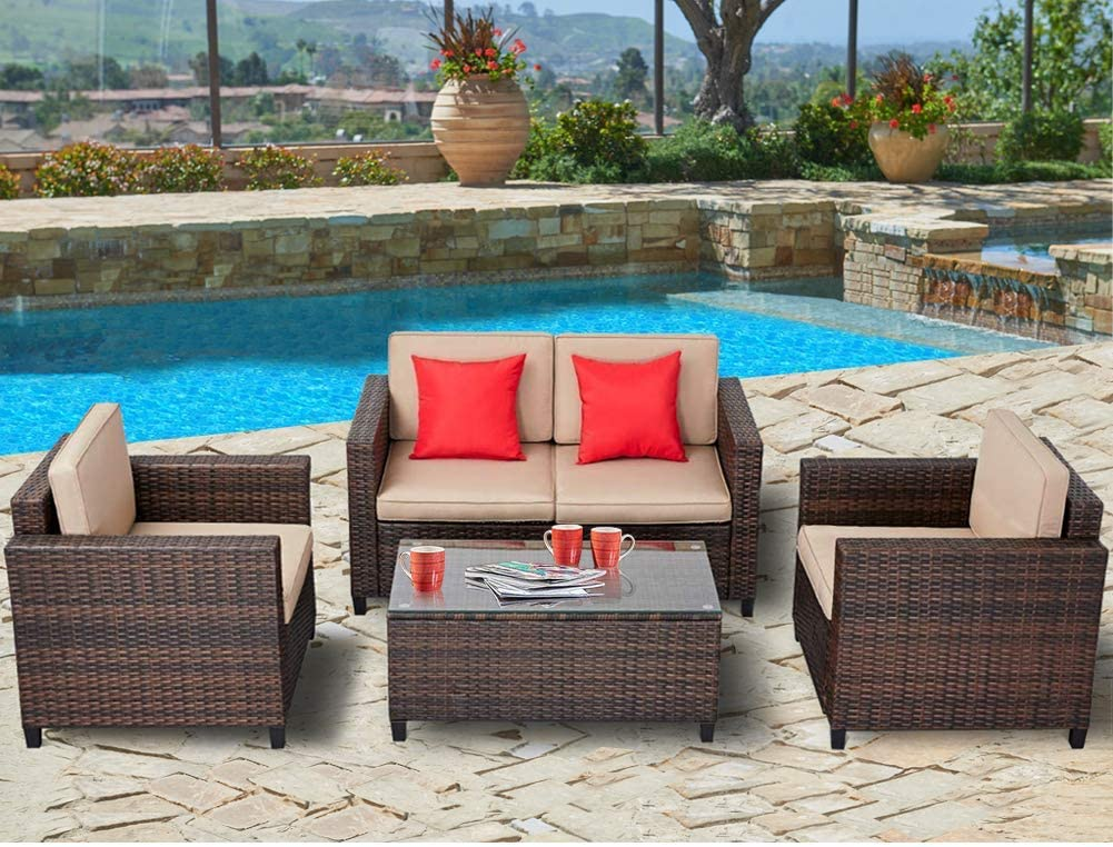 SUNCROWN Outdoor Patio Furniture 4-Piece Conversation Set All-Weather Wicker, Thick, Durable Cushions with Washable Covers, Porch, Backyard, Garden