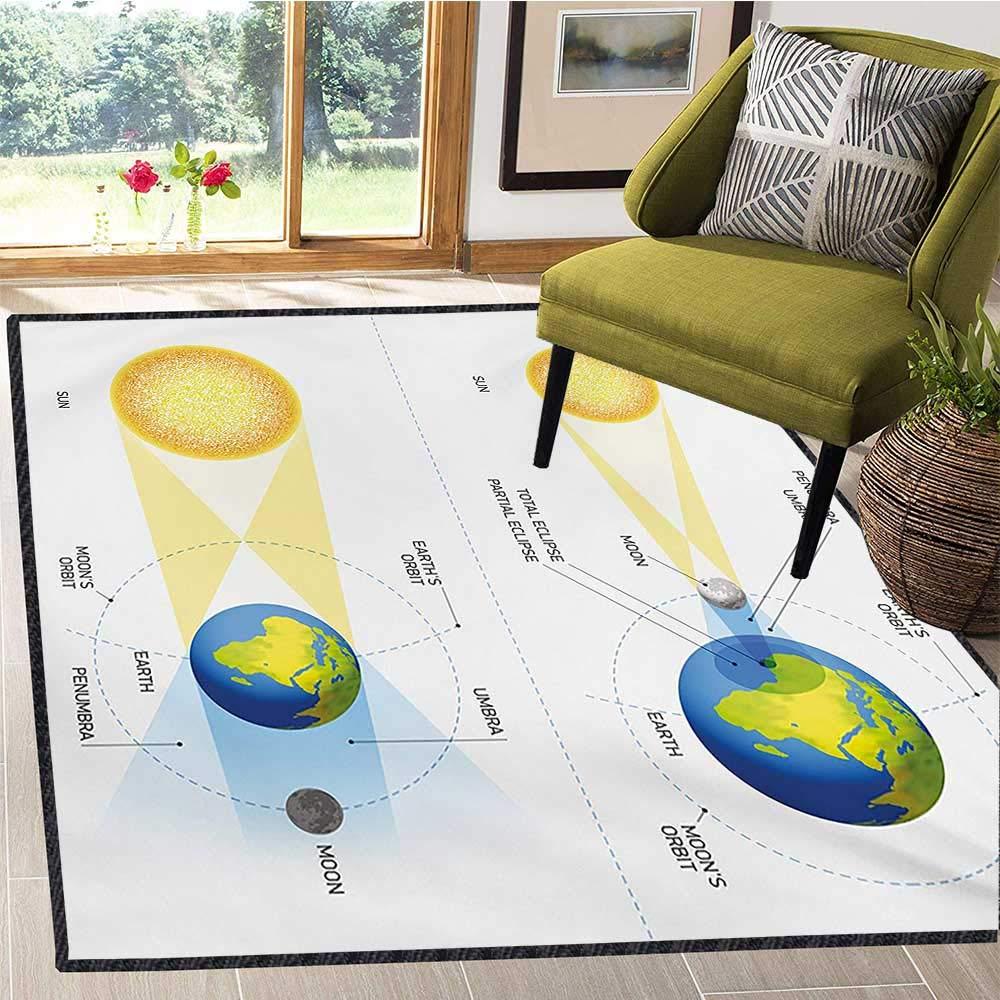 Educational, Area Rug Kids Girl, Solar and Lunar Eclipse Planet Earth Sun Moon Orbit Astronomy Science, Floor Mat Pattern 6x9 Ft Blue Green Mustard