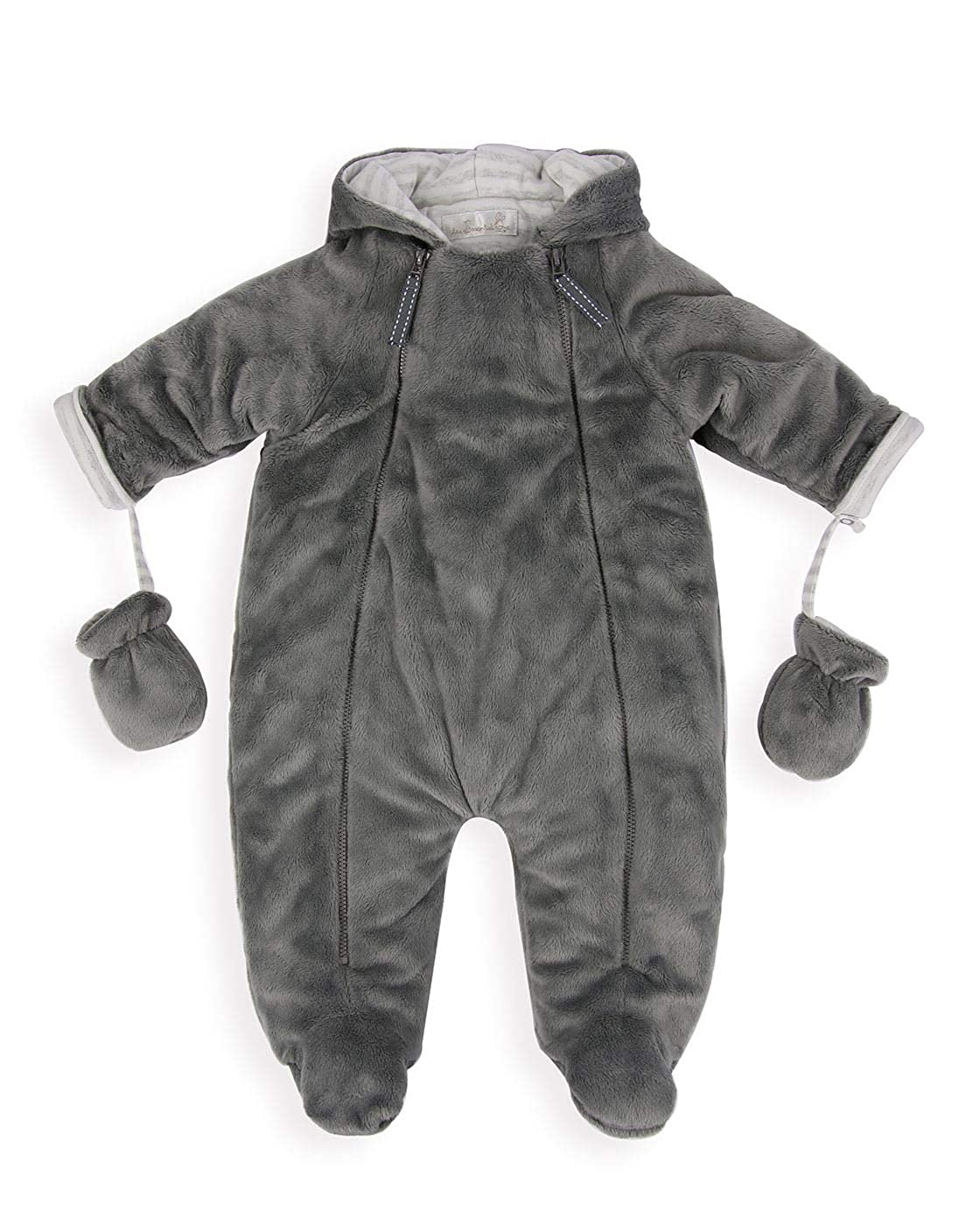 The Essential One - Baby Unisex Grey Pramsuit with Fur Lining - Grey - EO301