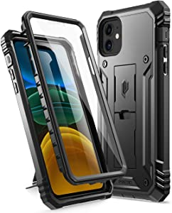 Poetic iPhone 11 Rugged Case with Kickstand, Full-Body Dual-Layer Shockproof Protective Cover, Built-in-Screen Protector, Revolution Series, for Apple iPhone 11 (2019) 6.1 Inch, Black