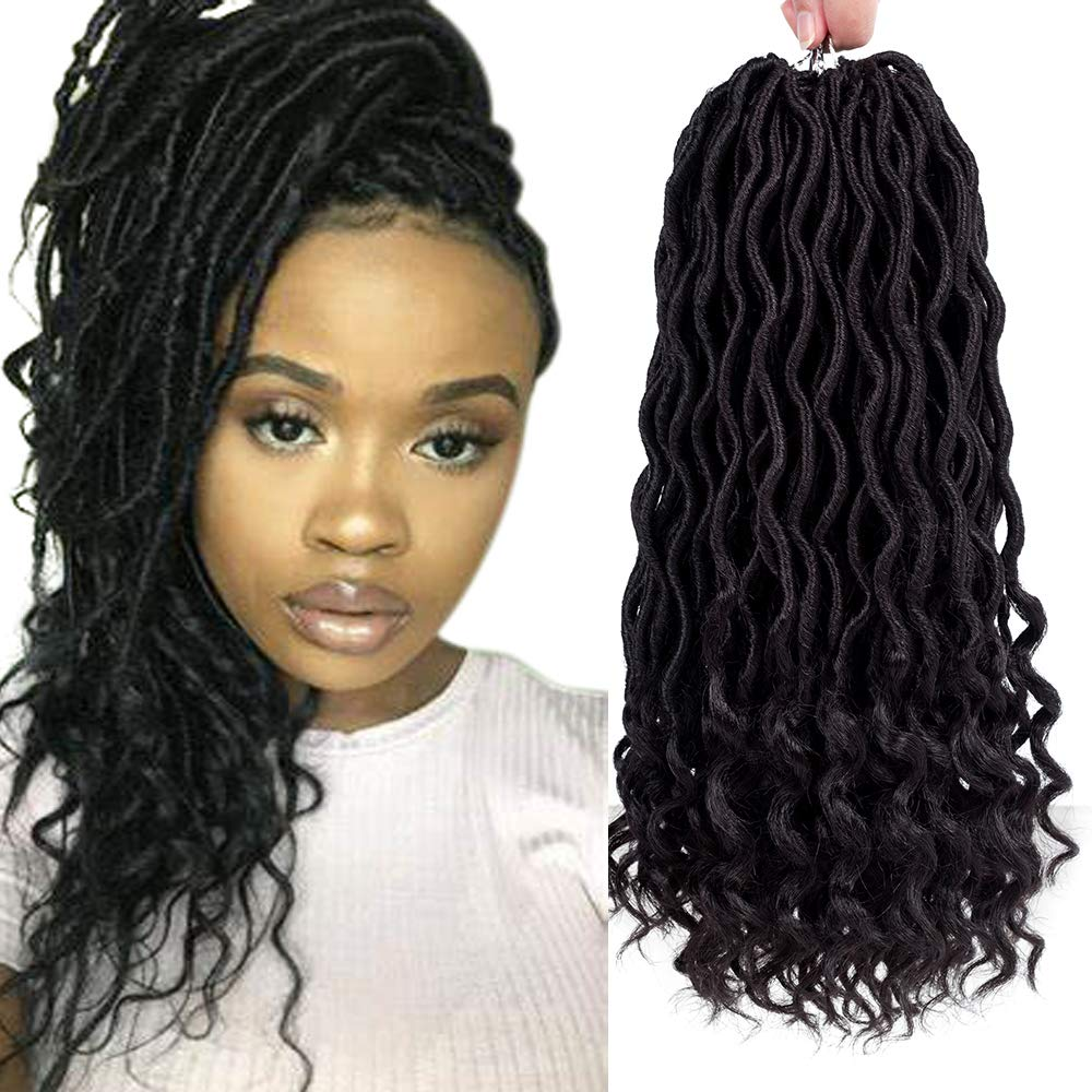 Amazon Com Befunny 6packs Lot 14 Goddess Locs Crochet Hair Short Faux Locs Crochet Braids Hair With Curly Ends Wavy Synthetic Prelooped Crochet Twist Hair Extensions For Women Black Color 14inch 1b