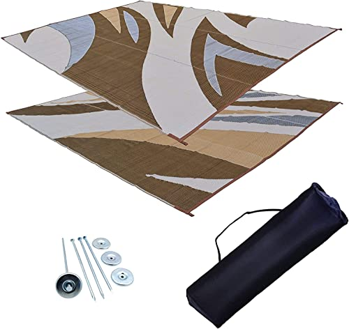 Professional EZ Travel Collection Reversible RV Outdoor Rug for Backyards, Beaches, Camping Grounds, Patios, and More, Storage Bag and Mat Stakes Included, Brown 9×18