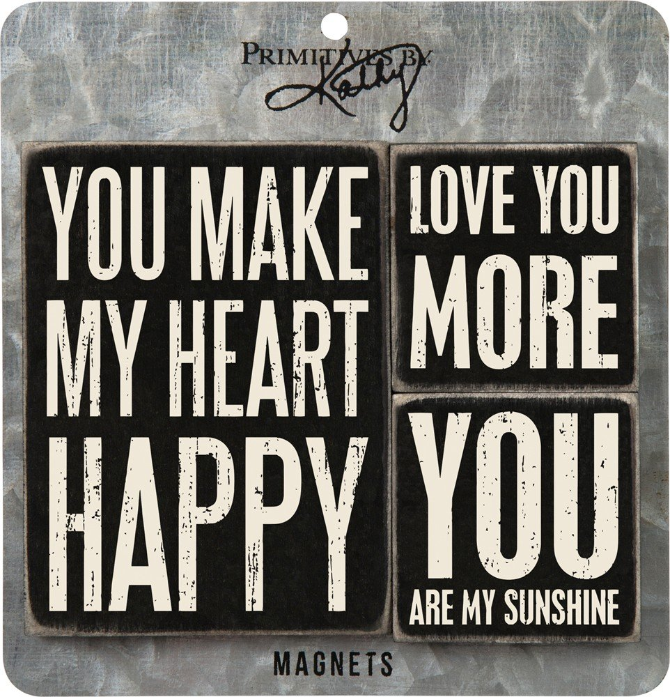 Primitives by Kathy 27498 Wooden Magnet Set You Make My Heart Happy