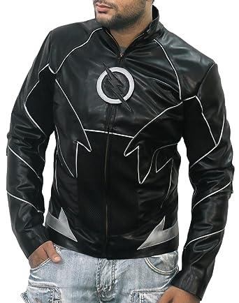 Laverapelle Mens Black Reverse Flash Harrison Wells Leather Jacket
