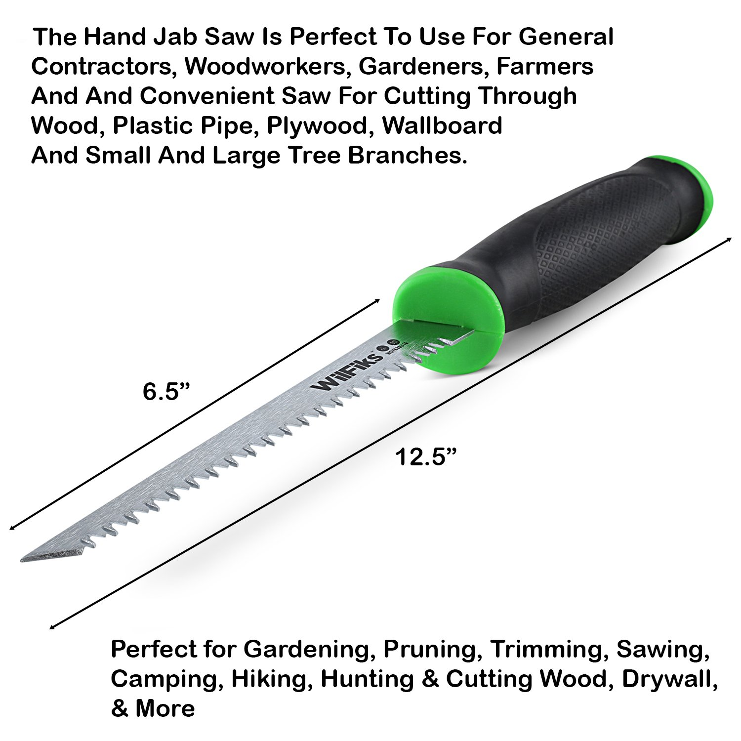"""WilFiks Razor Sharp 6.5"""" Pro Jab Saw, Drywall Hand Saw, Perfect For Sawing, Trimming, Gardening, Pruning & Cutting Wood, Wallboards & More, Comfortable Ergonomic Non-Slip Handle, Has A Sharpened Tip by WilFiks (Image #3)"""