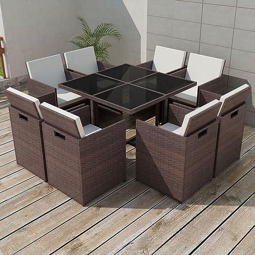 lingjiushopping Juego Mesa y sillas para exteriores 25 unidades de ...