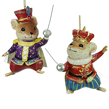 set of 2 nutcracker mice christmas decorations 10cm