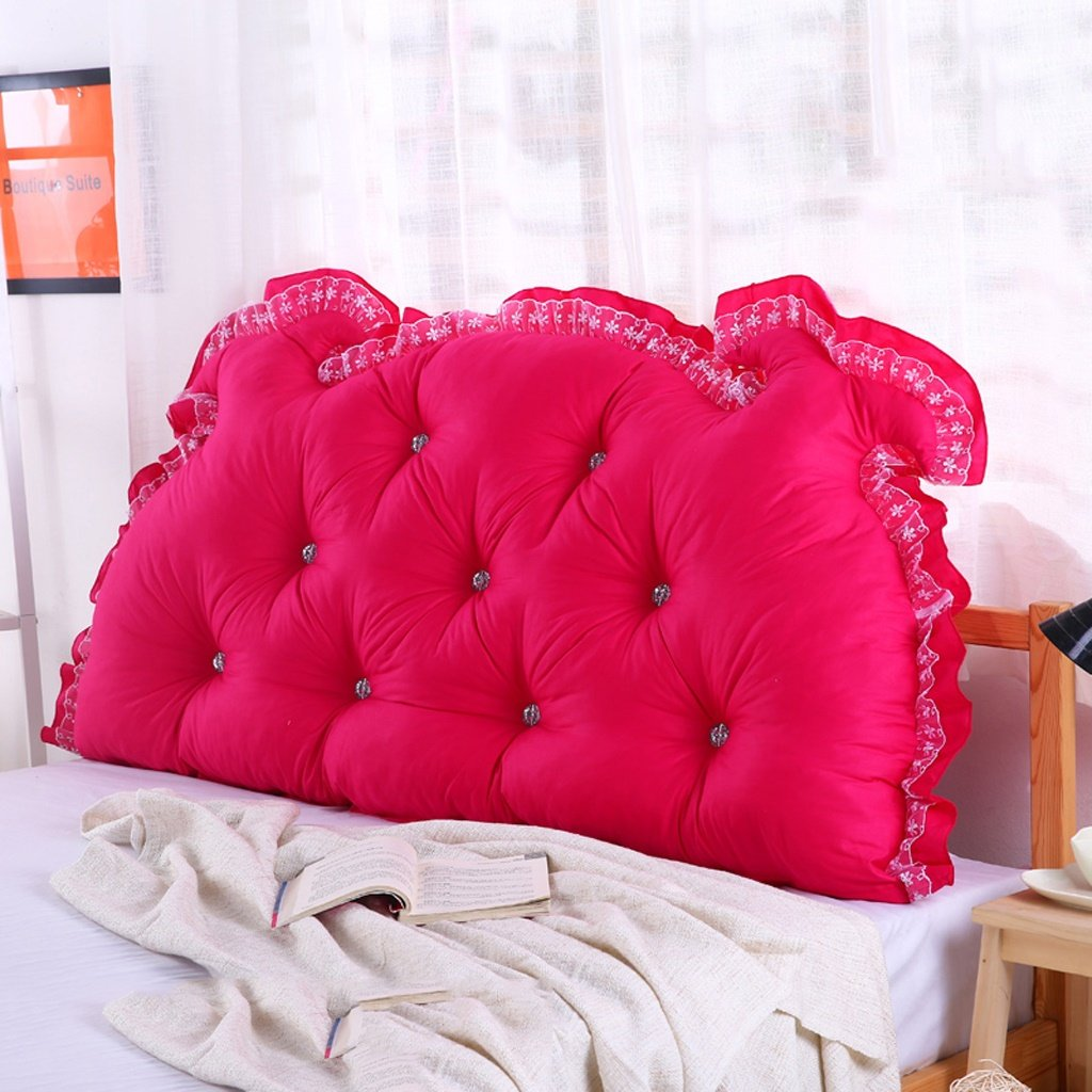Unbekannt MMM- Bedside Kissen Double Back Pad Sofa Rückenlehne Soft Case Bett Kissen Baumwolle Taillenschutz (Farbe : Rose Rot, größe : 190cm)