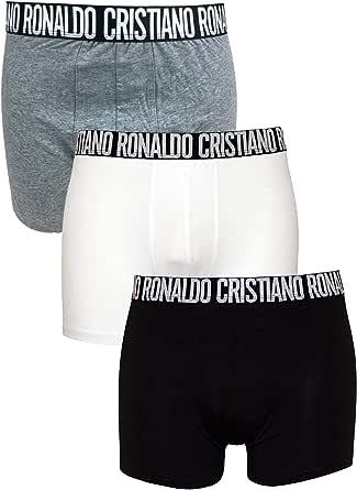 Cristiano Ronaldo CR7 - Pack de 3 Calzoncillos bóxer en Negro/Blanco/Gris con Logo Grande