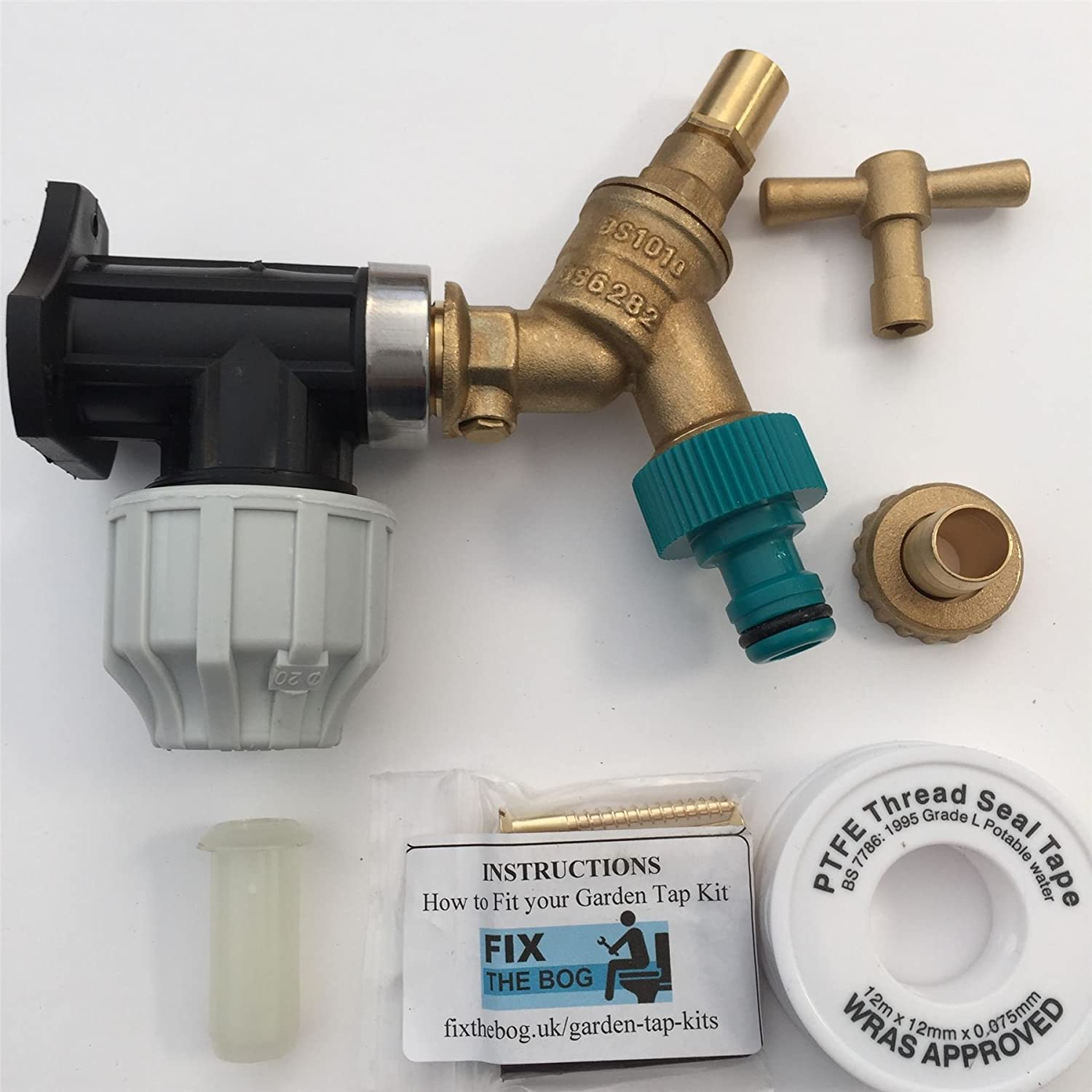 FixtheBog 20mm MDPE Outside Tap Kit With Plastic Wall Plate & Garden Hose Fitting DCV Anti Vandle FixtheDrip
