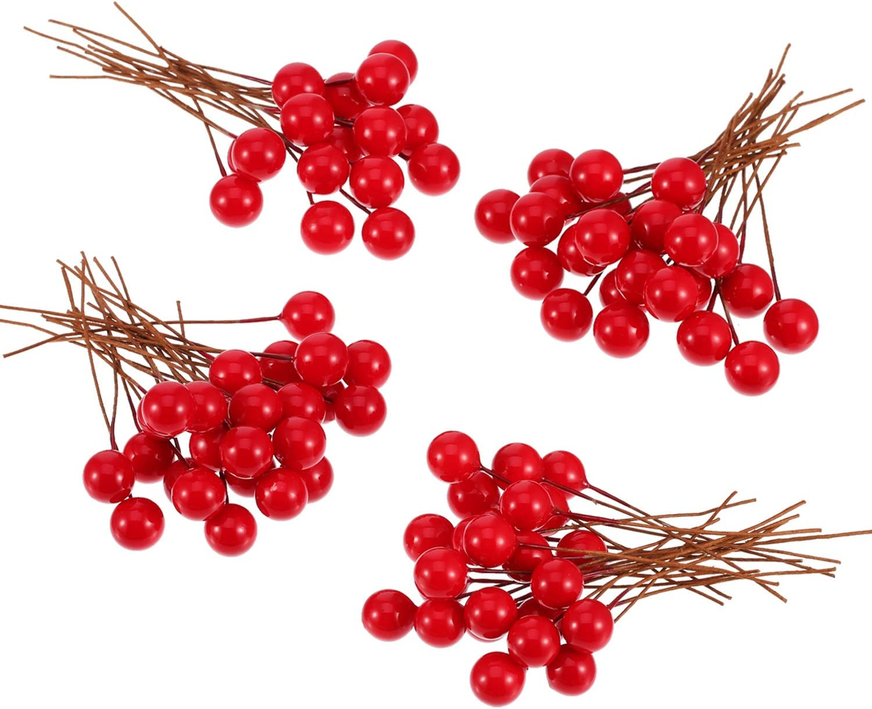 Bbto Bayas Artificiales De Acebo 100 Bayas De 10 Mm Para Decoración De árbol De Navidad Corona De Flores Uso Artesanal Amazon Es Hogar