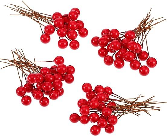 100 Pi/èces Mini 10 mm Fake Berries D/écoration sur Fil pour la D/écorations dArbres de Noel Couronne de Fleurs Utilisation Artisanale Bricolage Berries Houx Artificiels Or