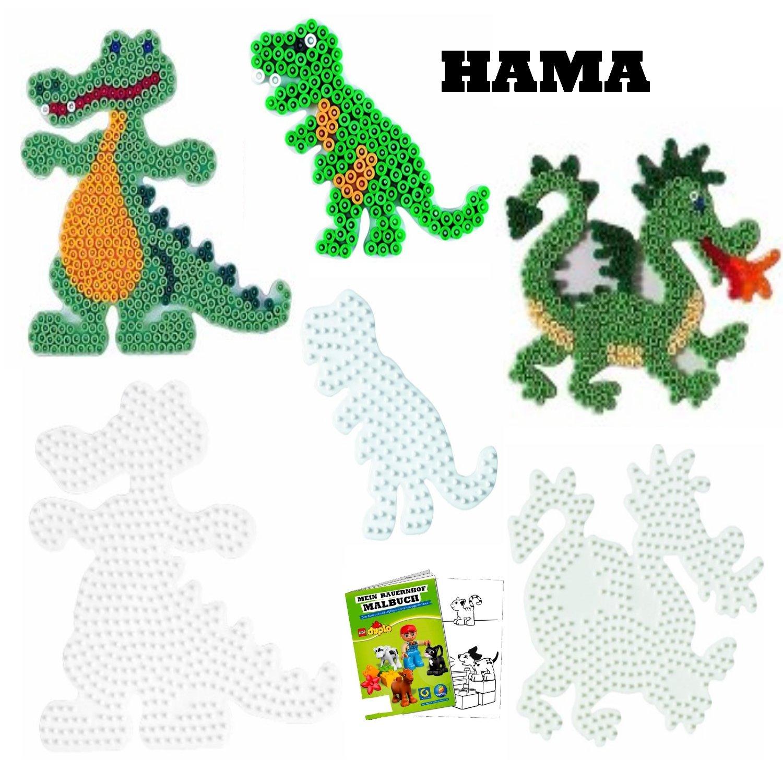 Hama Midi Bügelperlen Stiftplatte weiß 305 Drache