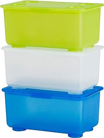 Ikea Glis Caja con Tapa, Azul, Blanco y Verde, 17x10x8 cm, 3 ...