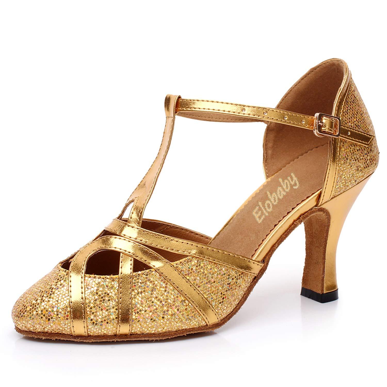 L@YC Femmes Chaussures Chaussures Femmes de Danse Ballroom Flash + PU Lady Sandals Soft Bottom DS-58 Soirée/Boucle (Taille 33-45) 44 EU|Golden ff851d