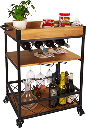 Elevens 3 Tier Rolling Utility Storage Cart-Kitchen Serving Bar Cart