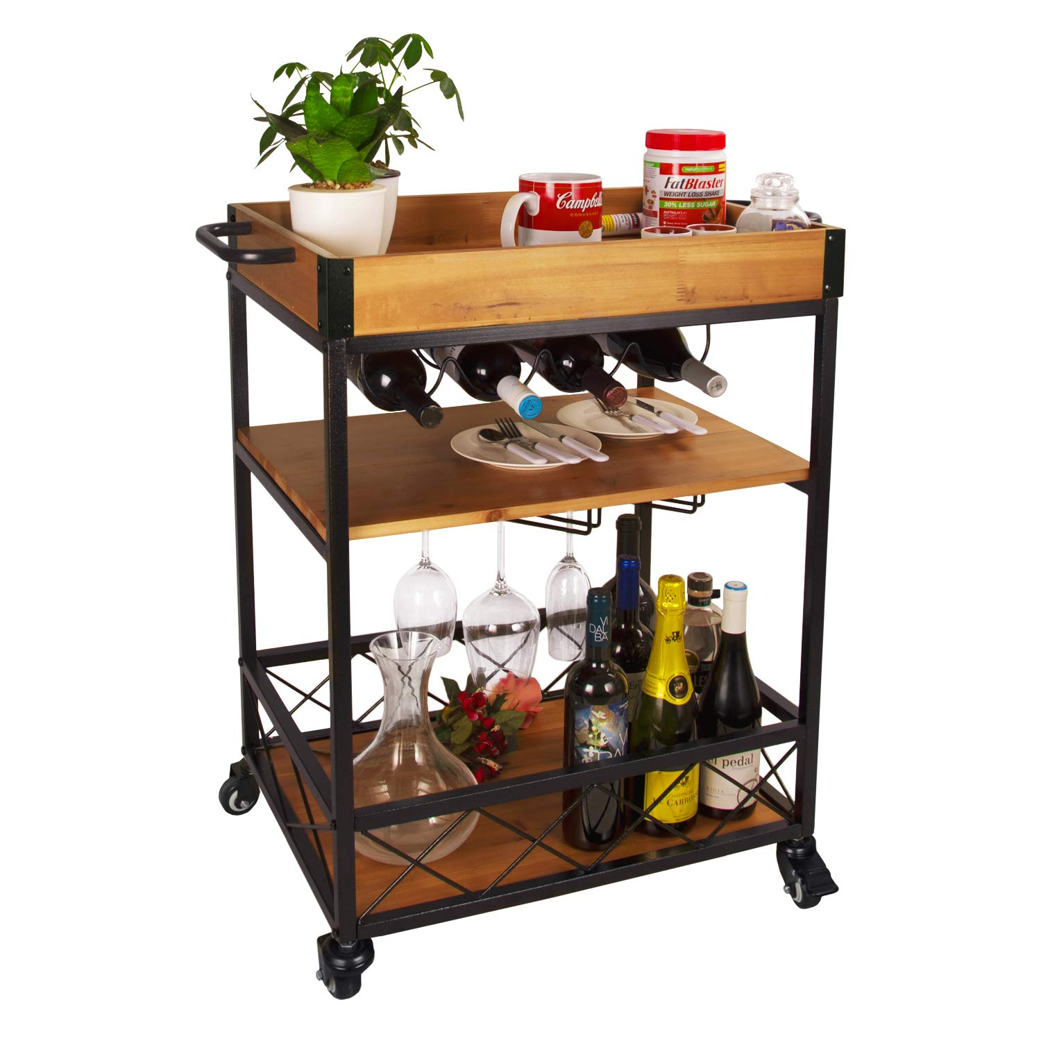 Elevens 3 Tier Rolling Utility Storage Cart-Kitchen Serving Bar Cart with Bottle Holder Light Wood
