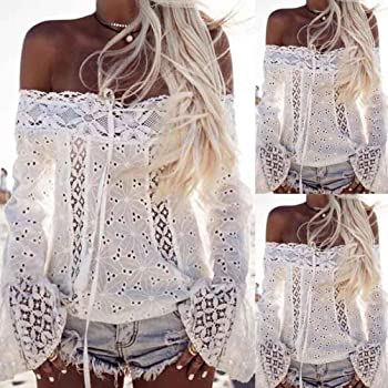 b8e6dc2ad9220 T-Shirt Women Off Shoulder Long Sleeve Lace Loose Blouse Tops. Syban T-Shirt  Women Off Shoulder Long Sleeve Lace Loose Blouse Tops ...