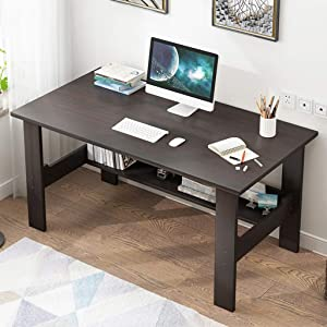 "39"" Computer Desk for Home Office Living Room,Wooden Smooth Desktop Table Corner Writing Study Desk with Two Layers Storage Book Shelf,Save Space (Black)"