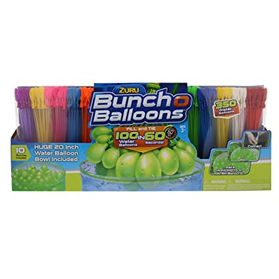 "ZURU Bunch O Balloons, Fill in 60 Seconds, 350 Water Balloons, 20"" Water Balloon Bowl Included: Toys & Games"
