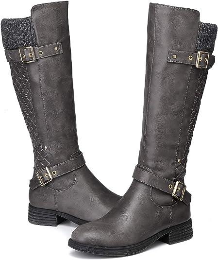 TALLA 37 EU. Camfosy Botas para Mujer Botas de Invierno hasta la Rodilla Botas Altas con Forro de Piel Zapatos cálidos de tacón bajo Botas Black Brown Grey