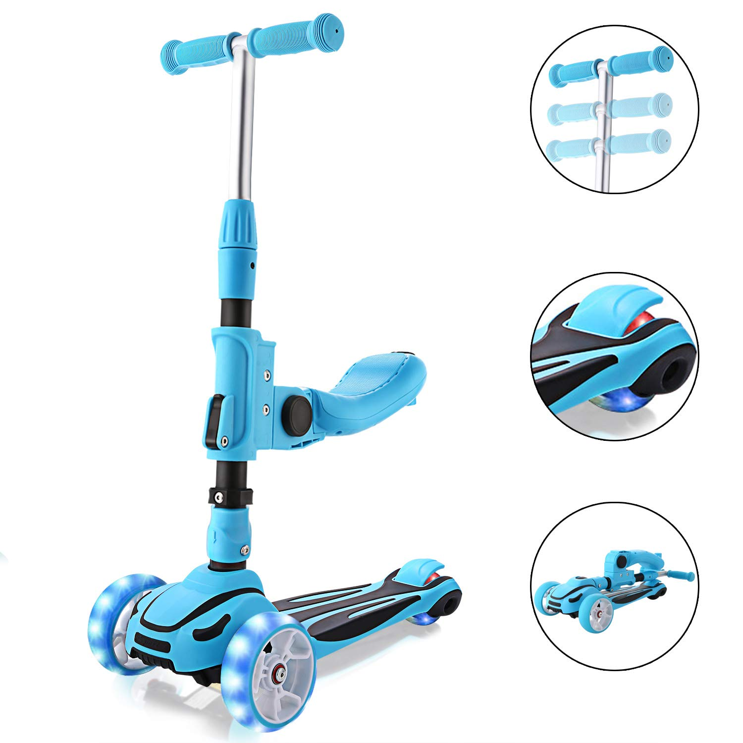 Hikole 2-in-1 Scooter for Kids with Folding Seats & Height Adjustable & Folding Scooters - 3 Lighting Wheels Kick Scooter for Girls Boys Great Outdoor Toy for Kids (Blue) by Hikole