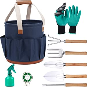 9 Piece Garden Tote and Tools Set, Garden Bucket Tool Kit Organizer with 18 Deep Pockets, Gardening Hand Tools and Supply Essentials Kit Includes Storage Bag, Weeder, Rake, Shovel, Trowel and More