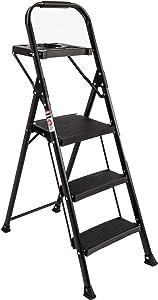 EFINE 3 Step Ladder, Folding Step Stool with Tool Platform, Wide Anti-Slip Pedal, Sturdy Steel Ladder, Convenient Handgrip, Lightweight 330lbs Portable Steel Step Stool