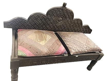 Amazon Com Mogul Interior Antique Bench Carved Dark Brown