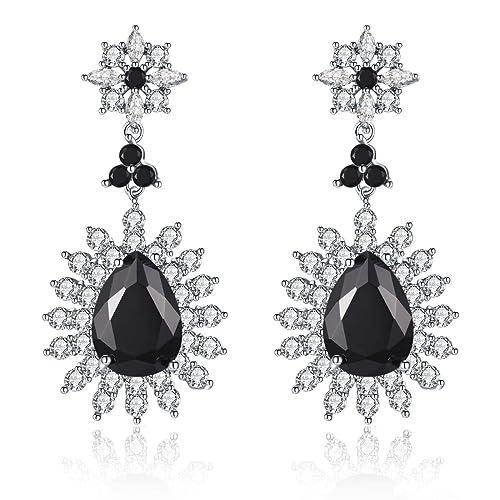 b42bb4e19 Me&Hz Black Silver Austrian Crystal Teardrop Earrings Vintage Black Cubic  Zirconia Diamond Party Wedding Dangle Earrings