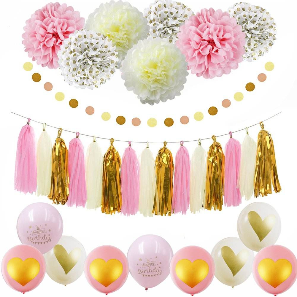 Pink Gold Happy Birthday Party Decorations Cream Glitter Ballons Tissue Paper Pom Polka