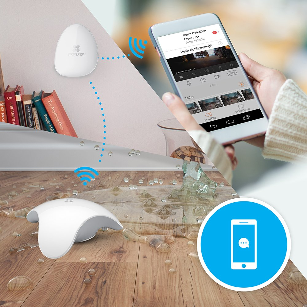 EZVIZ T10, sensor de fugas de agua inalámbrico, 2 años de batería, funciona con la central de alarma A1 (no incluida)