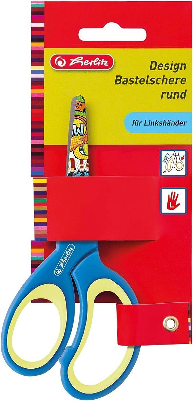 Herlitz 5 x Bastelschere Design 13cm rund farbig Sortiert Linksh/änder