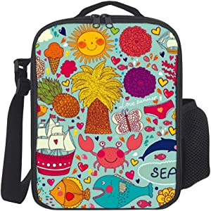 Portable Thermal Insulated Picnic Lunch Bag Food Handbag Lunch Box with Shoulder Strap for Hot Or Cold Groceries Fish Pattern Vector Material