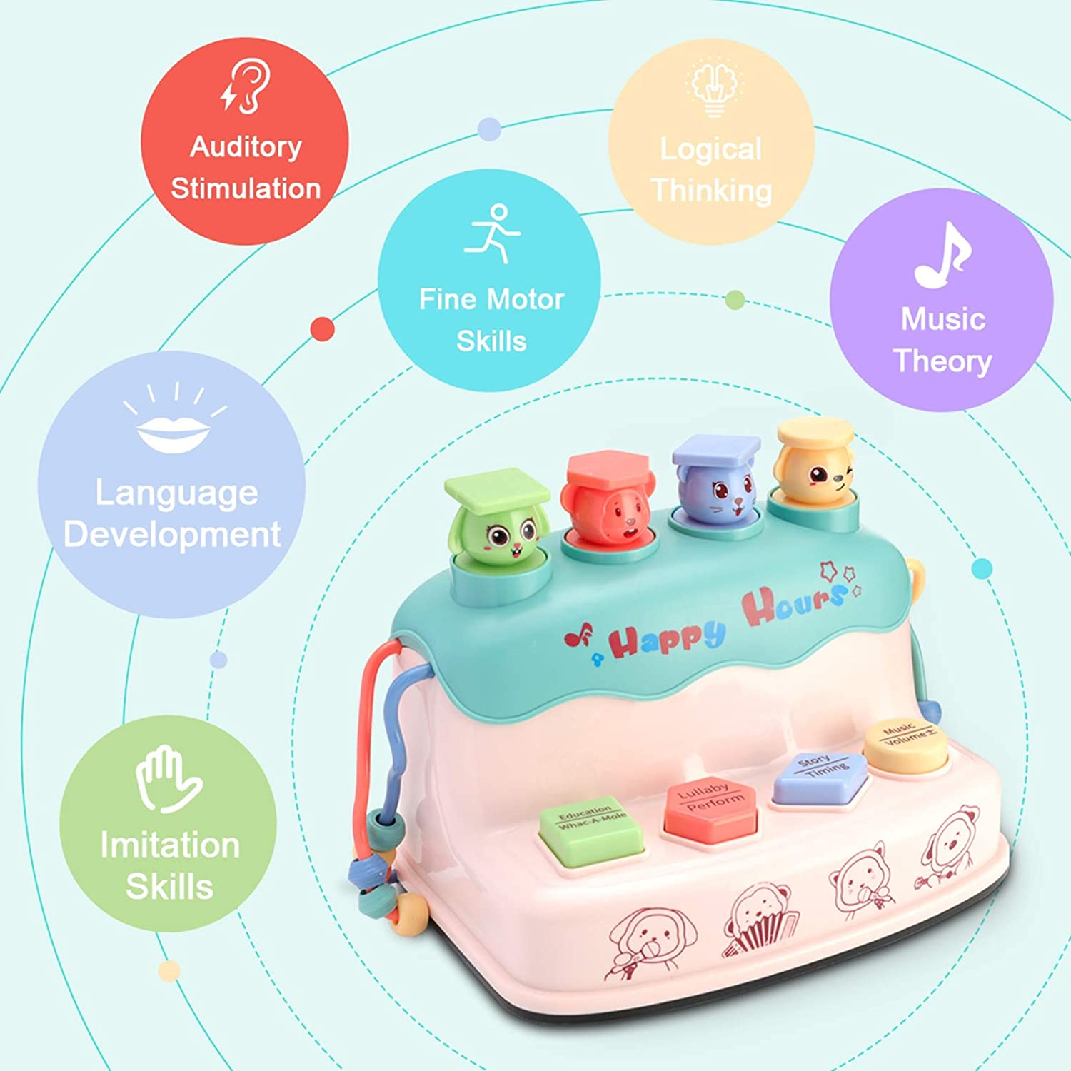 NUYYUN Educational Baby Musical Toys for Toddlers,6 in 1 Interactive Fun Baby Early Learning Educational Toys for 1 2 3 4 5 Years Old Boys Girls Kids and Toddlers Gifts with Music and Lights