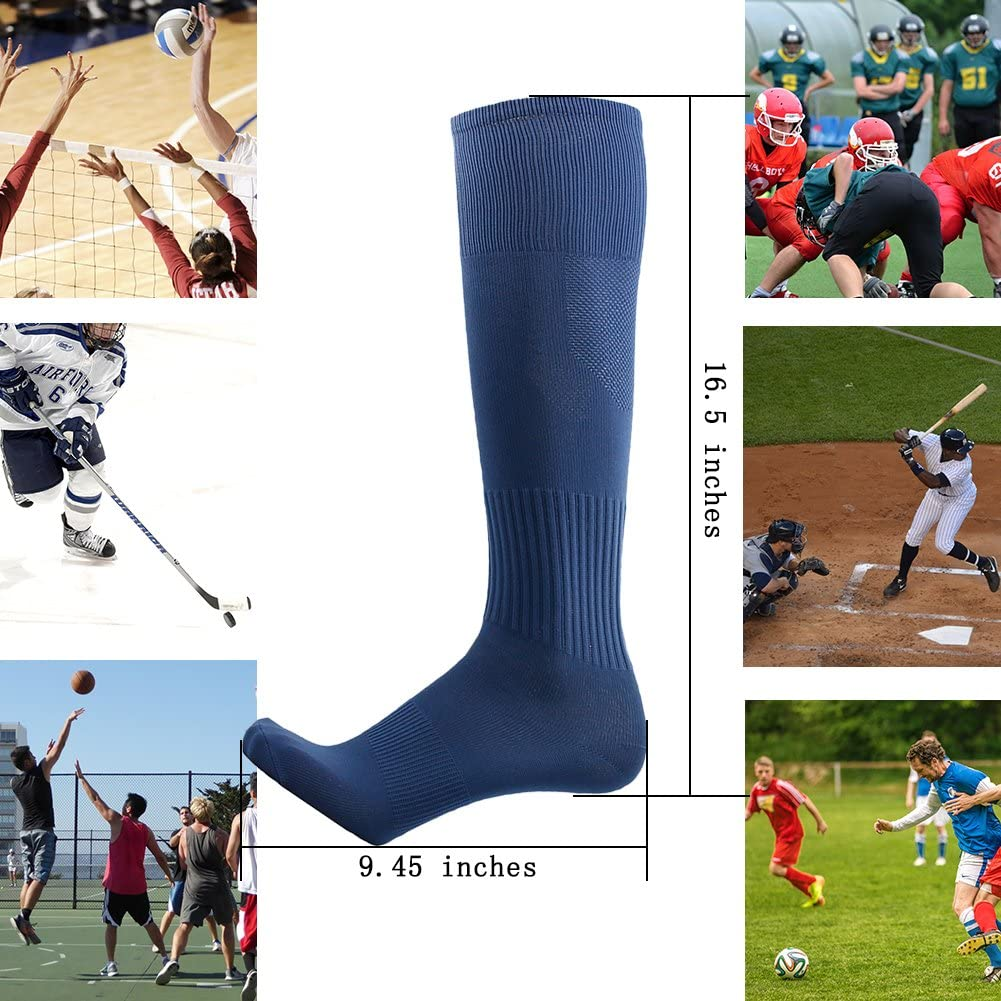 Three street Unisex Athletic Knee High Breathable Compression Solid Tube Soccer Socks 2//6//10 Pairs