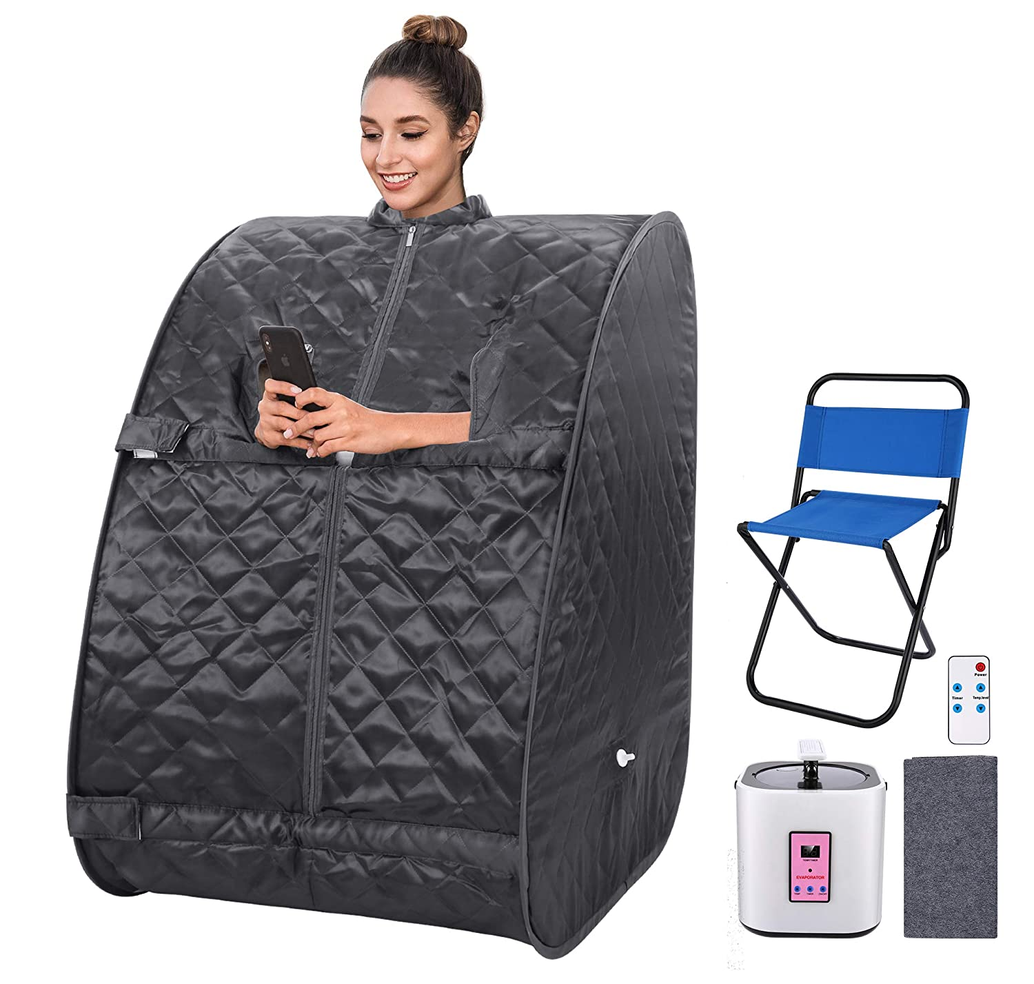 OppsDecor Portable Steam Sauna Spa, 2L Personal Therapeutic Sauna for Weight Loss Detox Relaxation at Home,One Person Sauna with Remote Control,Foldable Chair,Timer US Plug Gray
