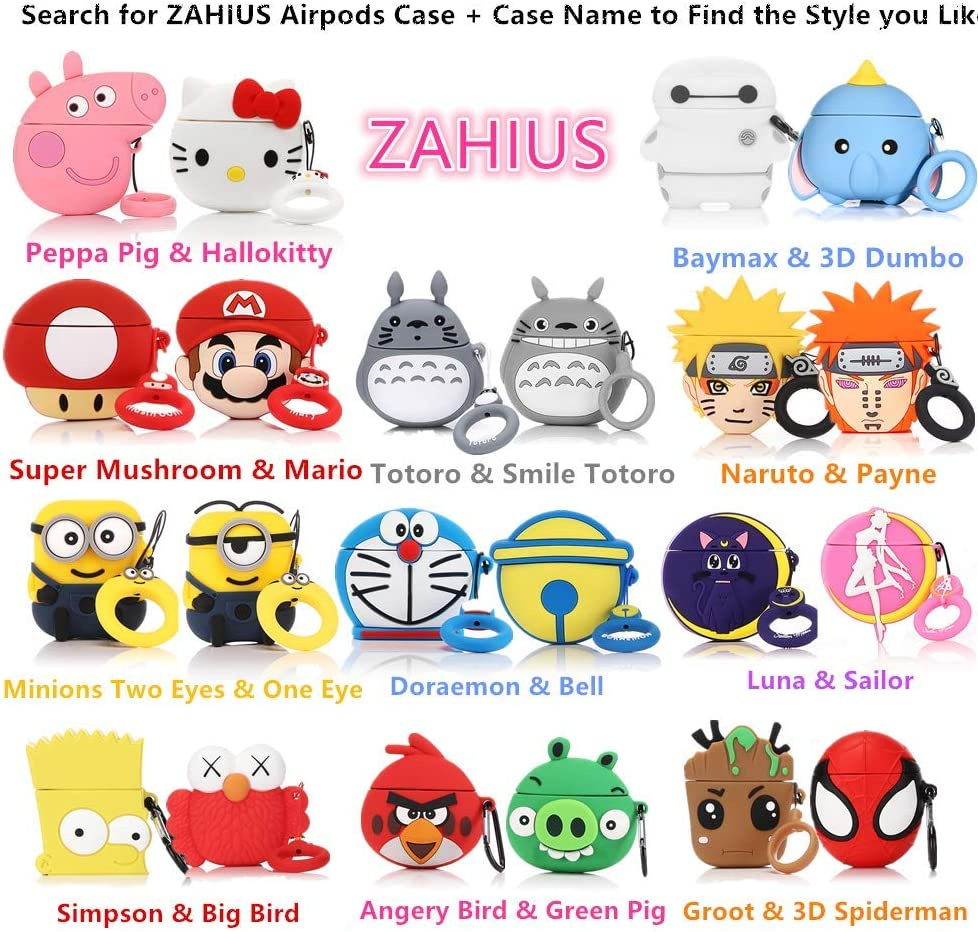 ZAHIUS Airpods Silicone Case Funny Cover Compatible for Apple Airpods 1/&2 Cartoon Pattern Super Mario Best Gift for Girl Boy