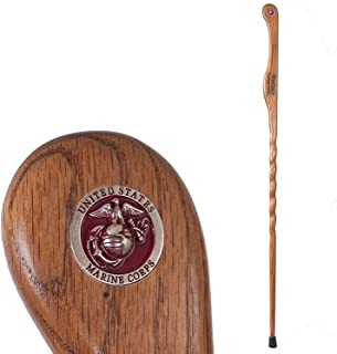 "product image for Brazos 55"" Handcrafted Oak Wood Walking and Hiking Stick, Marines Legacy Staff, Made in the USA"