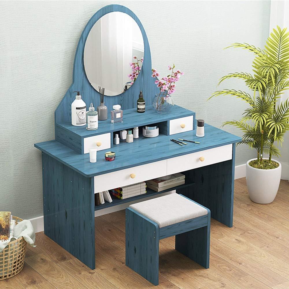 Schminktisch Frisierkommode Stuhl Set Multifunktionsschrank Schlafzimmer Dresser Schlafzimmer Economy Mode Schminktisch mit Spiegel Großes Frisierkommode Set ( Color : D , Size : 40 x 80 x 152cm )