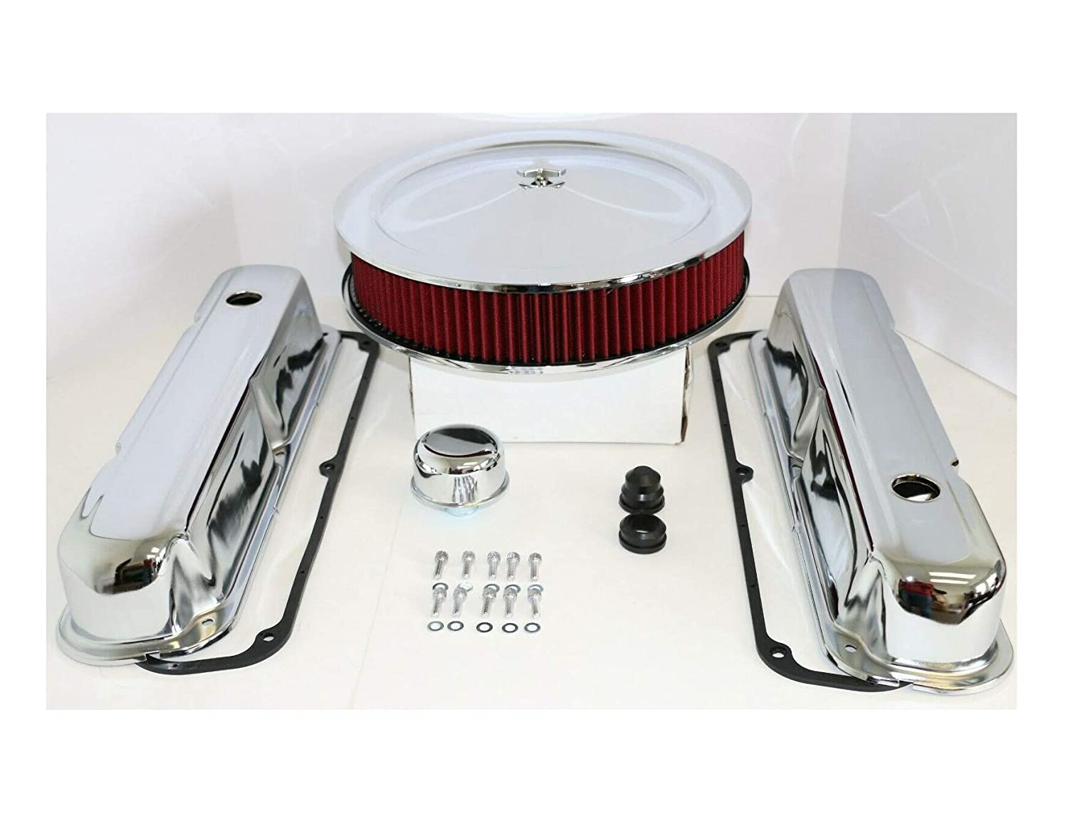 SB ChrysIer Chrome Engine Dress Up Kit Valve Covers Red Washable Air Cleaner 318