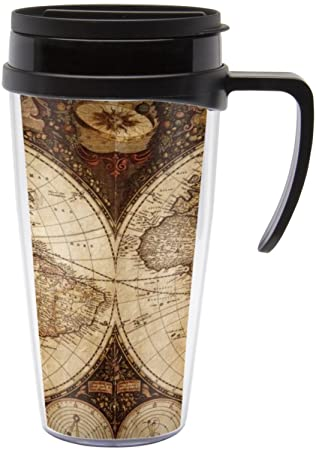 Amazon vintage world map travel mug with handle kitchen dining vintage world map travel mug with handle gumiabroncs Choice Image