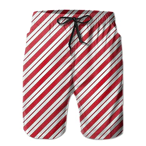 d26f50a560 Amazon.com : Red White Stripe Funny Summer Beach Shorts For Men Boys ...