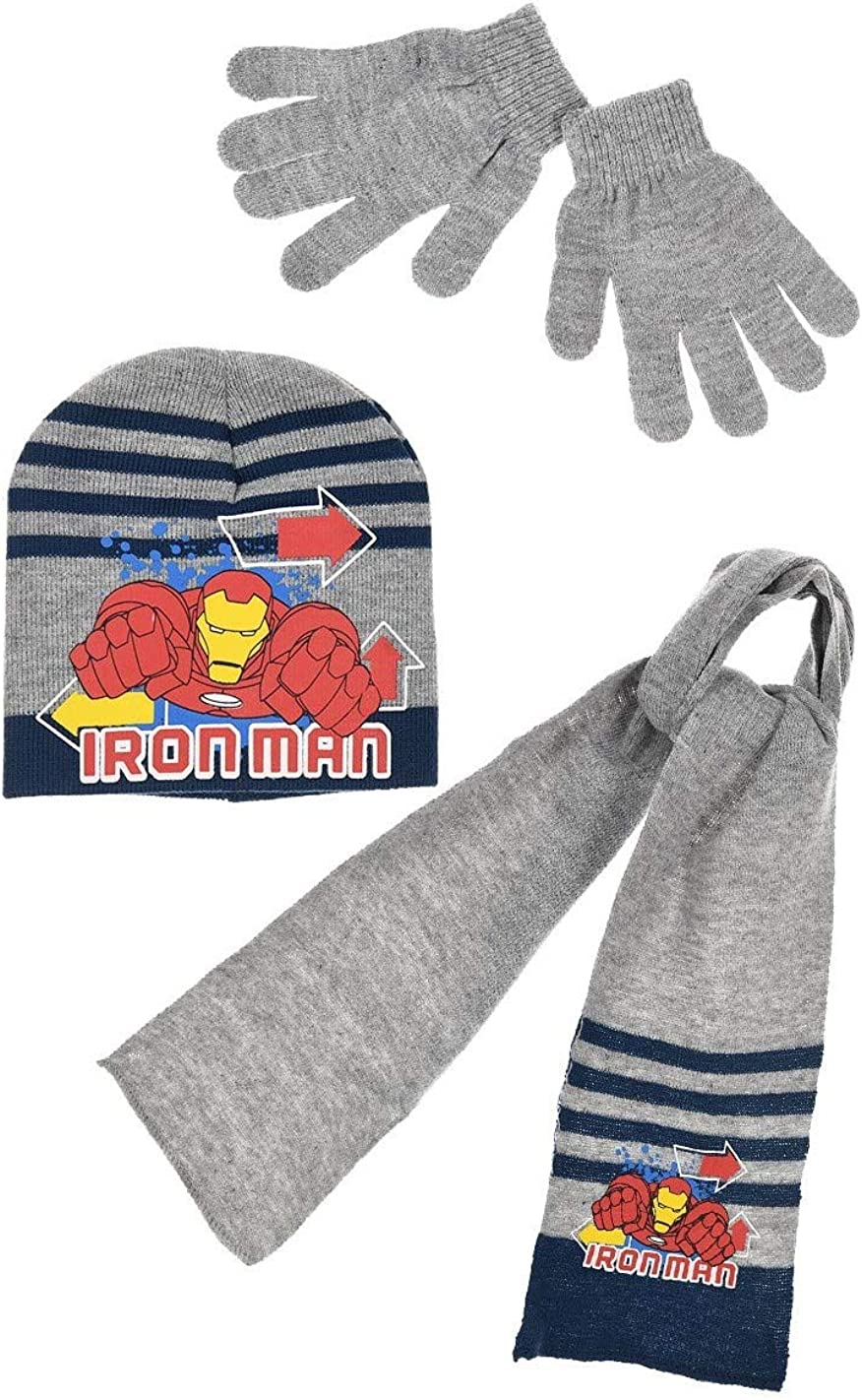 Hat and Gloves 3 Colours from 3 to 9 Years Boys Avengers Iron Man Scarf