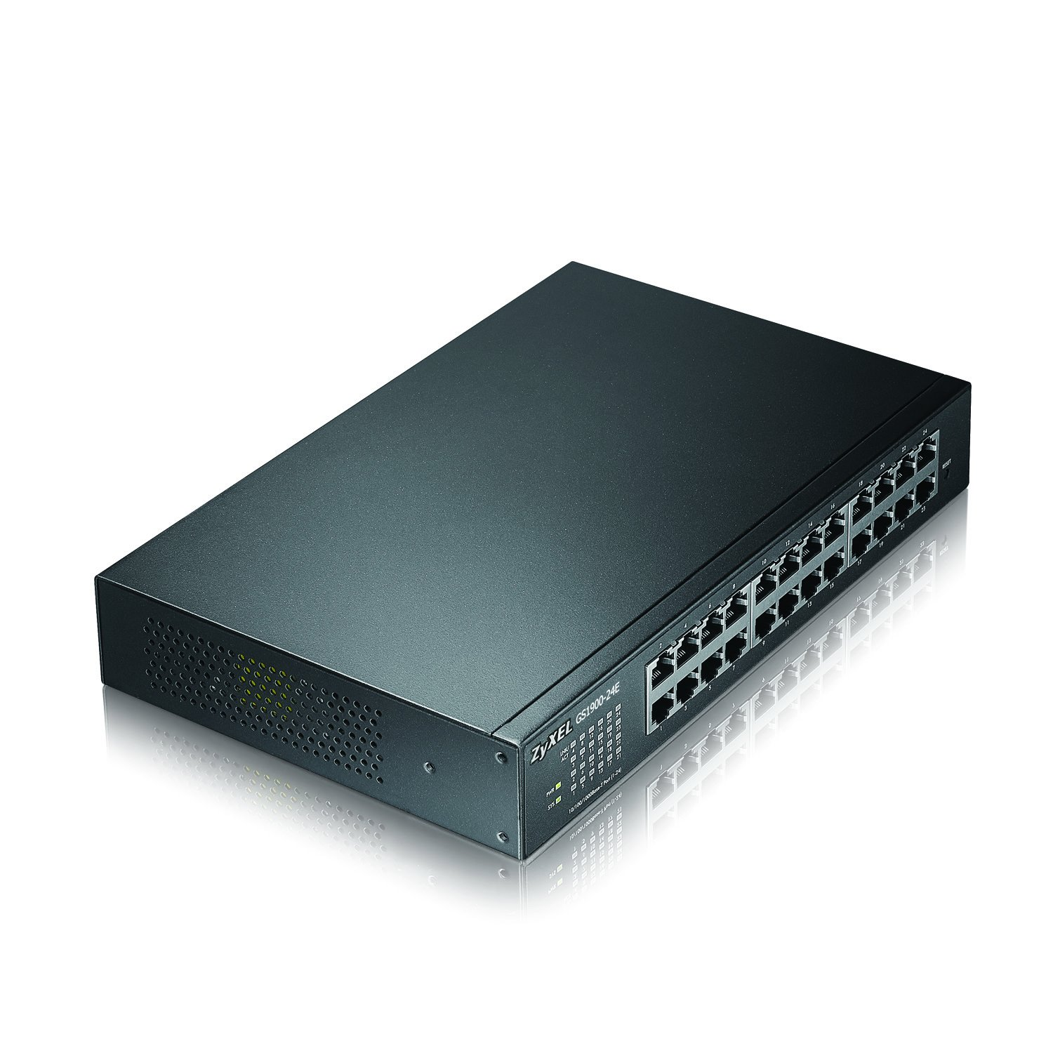 Zyxel 24 Port Gigabit Switch, Easy Smart Managed, Compact Rackmount, Fanless (GS1900-24E)