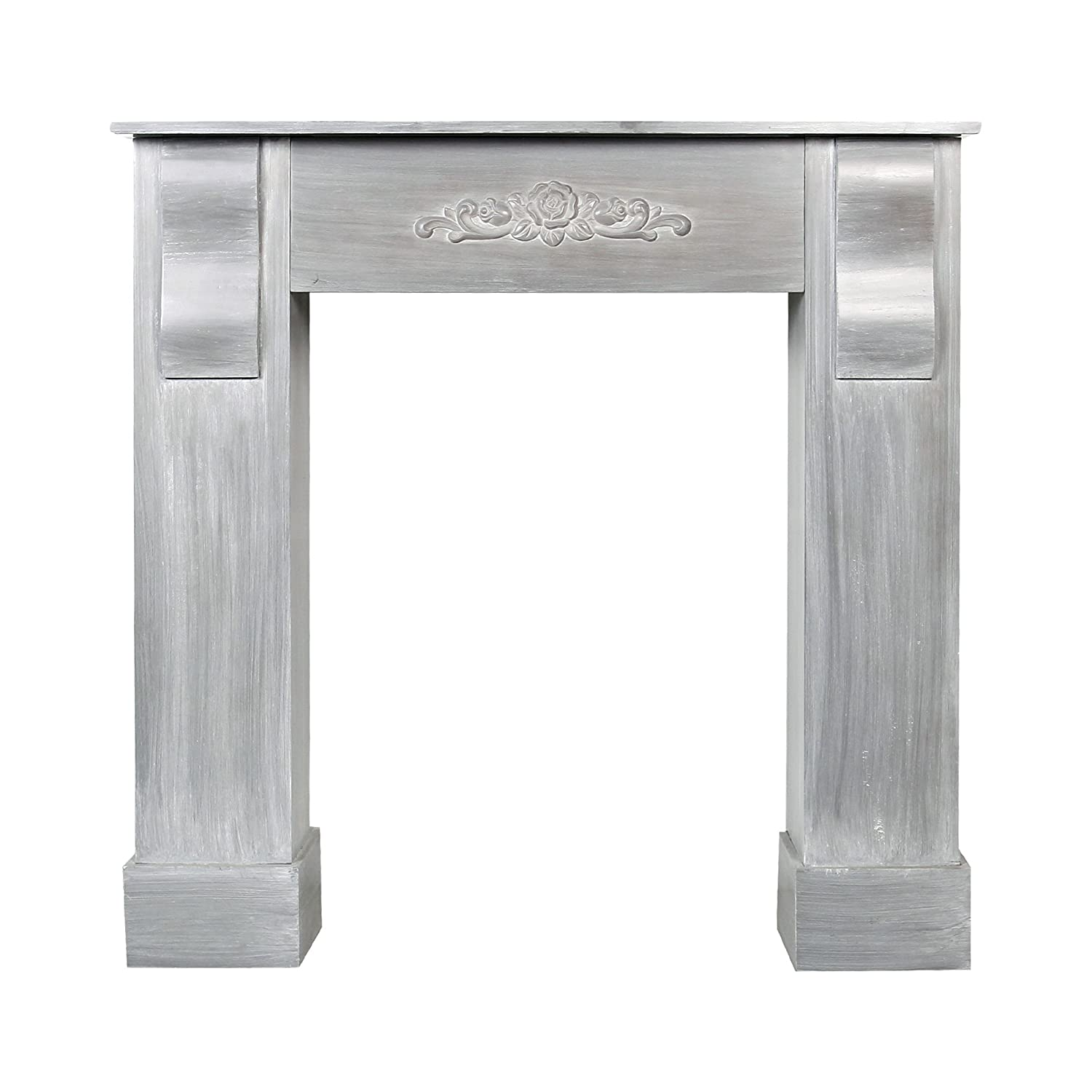 Rebecca srl Mantelpiece Fire Surround Furniture made of natural wood grey color with decoration in the middle and nice top shelf decorative item original Vintage Chic (Cod. 0-1919)