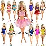 Miunana 5x Minibikini Bañador Verano Playa Trajes de Baño y 5 pares de Zapatillas para Muñeca Barbie Doll Regalo Navidad Estilo al azar